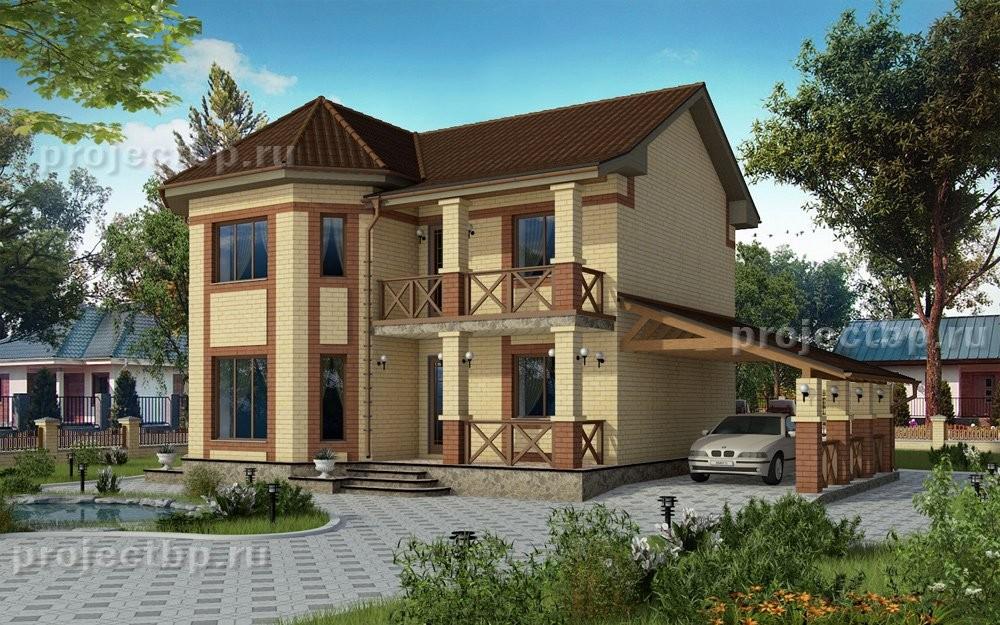 Проект двухэтажного дома с навесом для машины и балконом 122-D